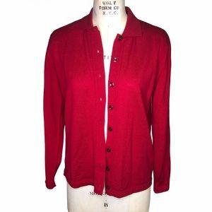 Faconnable red merino wool cardigan